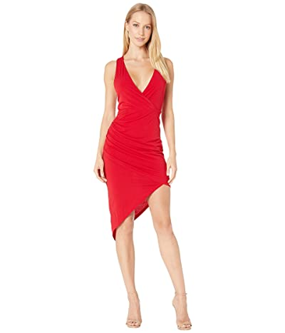 BCBGeneration Cocktail Shirred Asymmetrical Dress (Jester Red) Women