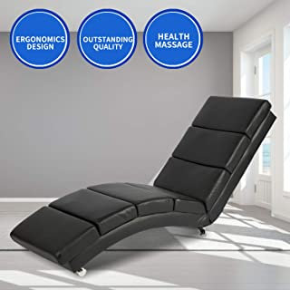 Aoxun Massage Recliner Chair - Leather Ergonomic Modern Upholstered Chaise Lounge for Indoor Furniture (Black)