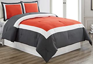 Grand Linen 3-Piece Duvet Cover Set, King Size- Orange/Dark Grey/White Color Block, Includes 1 Duvet Cover and 2 Shams - Brushed Microfiber - Luxury, Ultra Soft and Durable