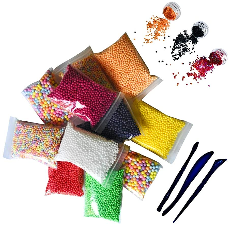 Halloween Foam Beads for Slime 15 Pack Supplies Kit - Include Colorful Dark Colors Foam Balls & Confetti Stars + Slime Tools Set | Perfect for Your Kids DIY Homemade Slime Art Craft Decorations