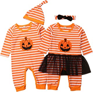 Twins Siblings 2 Pieces Halloween Outfits Baby Boy Girl Pumpkin Striped Romper Coverall + Hat/Headband