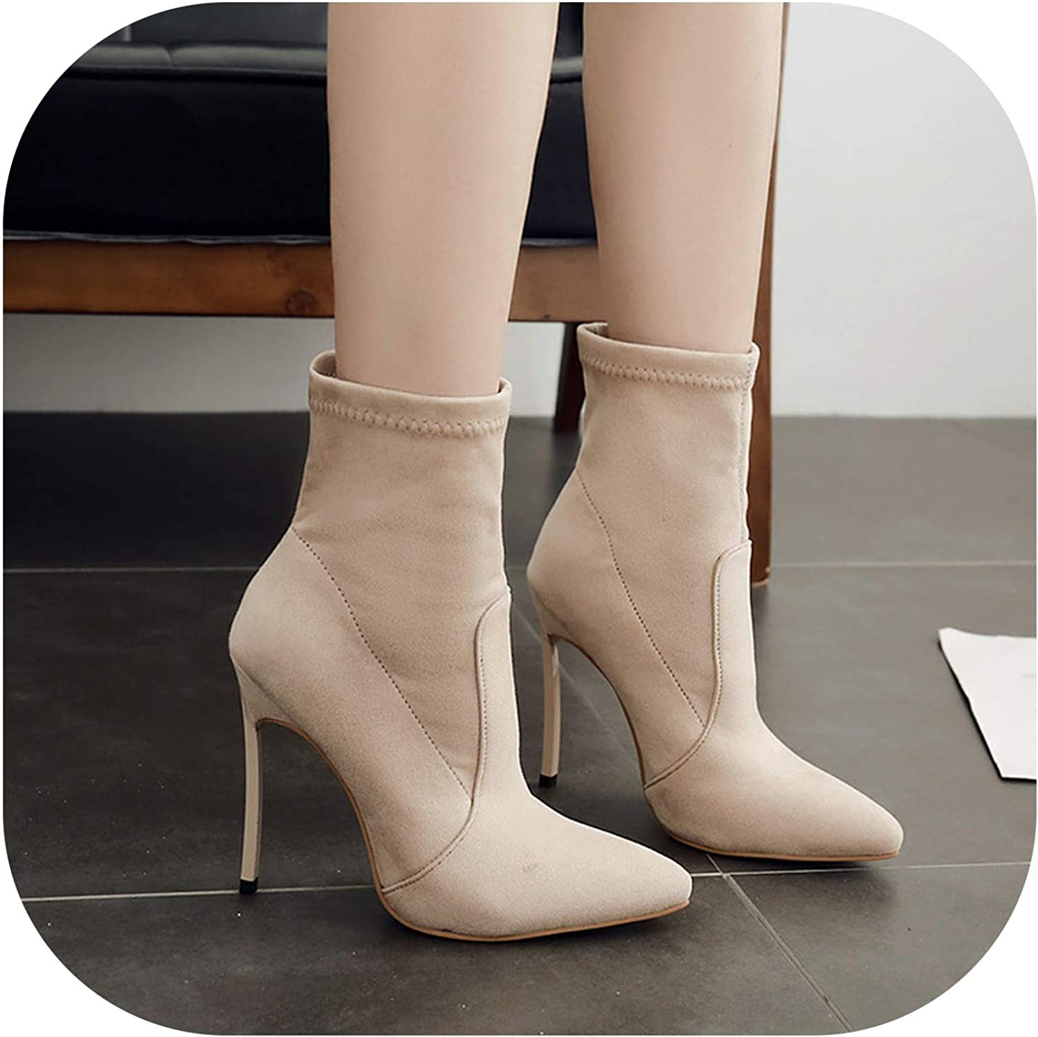 LittleBeautiful Sandals Women's shoes 42 Models Ladies Short Boots Stretch Cloth Pointed Fine Ultra High Heel High Boots