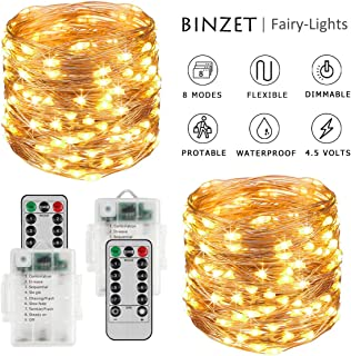 BINZET Fairy Lights Battery Operated - 2 Pack 33Ft 100LED Sliver Wire String Lights Waterproof 8 Modes LED Lighting String with Remote Control for Christmas Wedding Party Home, Warm White