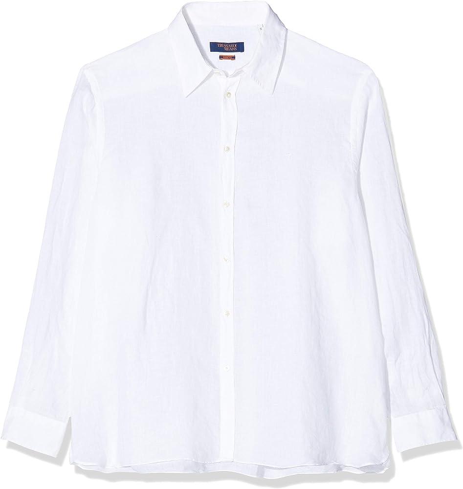 Trussardi jeans, camicia casual per uomo, maniche lunghe, 100% lino, bianca 52C001391T002248
