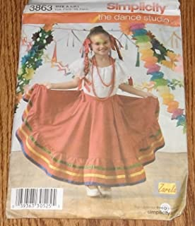 Simplicity 3863 Childrens Mexican Peasant Top & Circle Skirt Pattern S,M,L