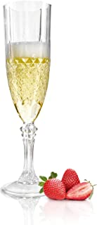 SOLAS Clear Plastic Champagne Flutes - Set of 12 Beautifully Designed Reusable Unbreakable Shatterproof Acrylic Disposable Champagne Glasses | Classic Design/Cut 8oz Plastic Champagne Glasses