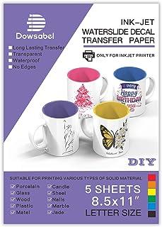 Water Slide Decal Paper for Inkjet Printer, Premium Clear Transparent Printable Waterslide Transfer Paper for Tumblers, Mu...