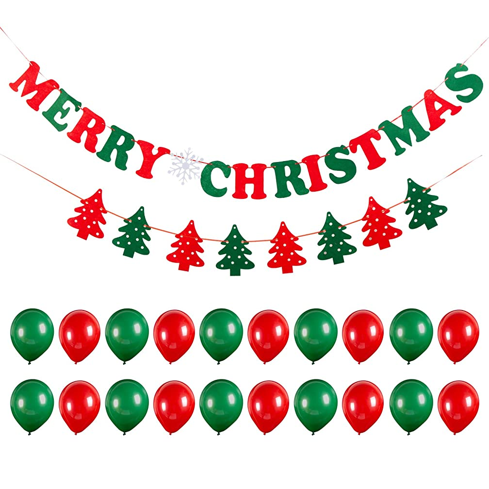Merry Christmas Banners Balloons Party Decoration Party Supplies 2019 Newest Happy Hanging Festival String Flags Trees/Words for Outdoor&Indoor Christmas Party Decoration Xmas Ornaments