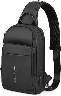 Bolso Bandoleras Hombre Impermeable con Puerto de Carga USB Casual Rucksack Antirrobo para Escalada, Kayak, Gimnasio, Ciclismo, Correr, Viaje (Negro- Nuevo)