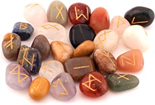 Healing Crystals India Witchcraft Crystals Viking Rune Hand Casting Kit Chakra Healing River Stones Reiki Crystals Gemstones Crystals Occult Decor Pagan Decor Wiccan Jewelry Mix Gemstone Rune Set