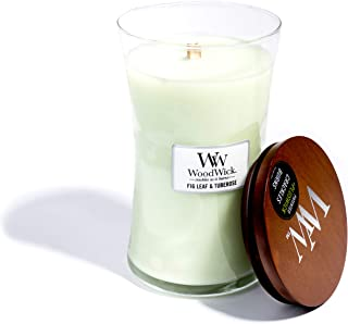 WoodWick Fig Leaf & Tuberose, Highly Scented Candle, Classic Hourglass Jar with Lid, Large 7 Inches, 21.5 OZ