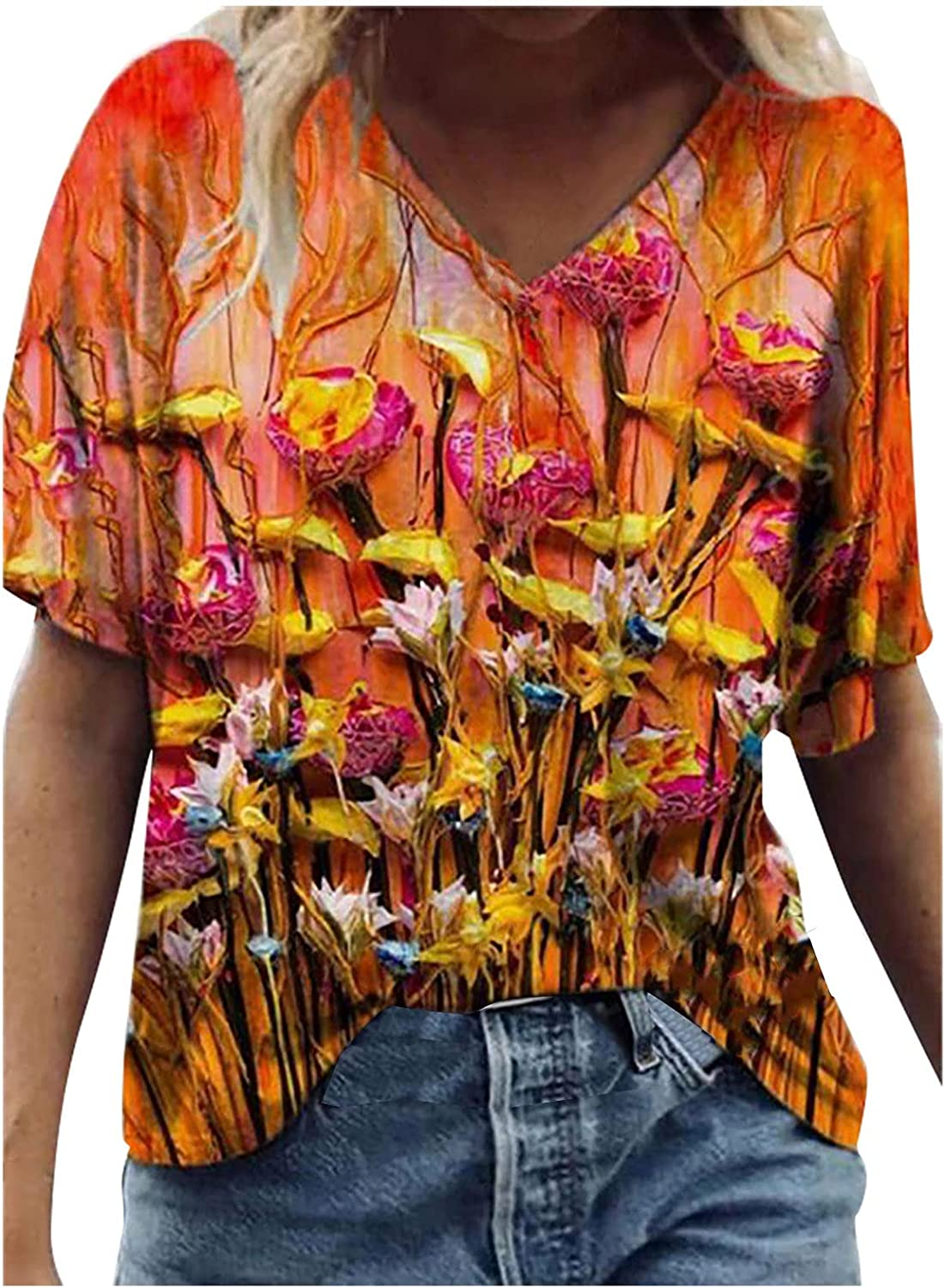 5665 Womens Short Sleeve Shirts Cute Flowers Printed V-Neck Tshirts Blouse Summer Casual Tops Loose Fit Graphic Tees