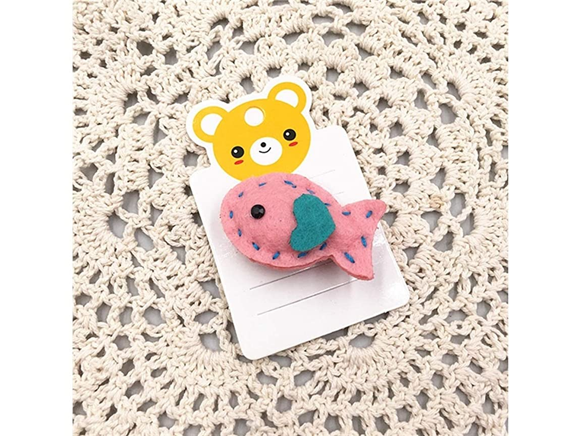 鬼ごっこ博物館飽和するOsize 美しいスタイル 子供の小さな魚のヘアクリップ手作りのサイドクリップ小さなダックビルクリップ(ピンク)