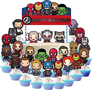 25 Pcs Avengers Cake Topper Superheros Cupcake Topper for Children Party Decoration Kid's Birthday Party Decoration Supplies