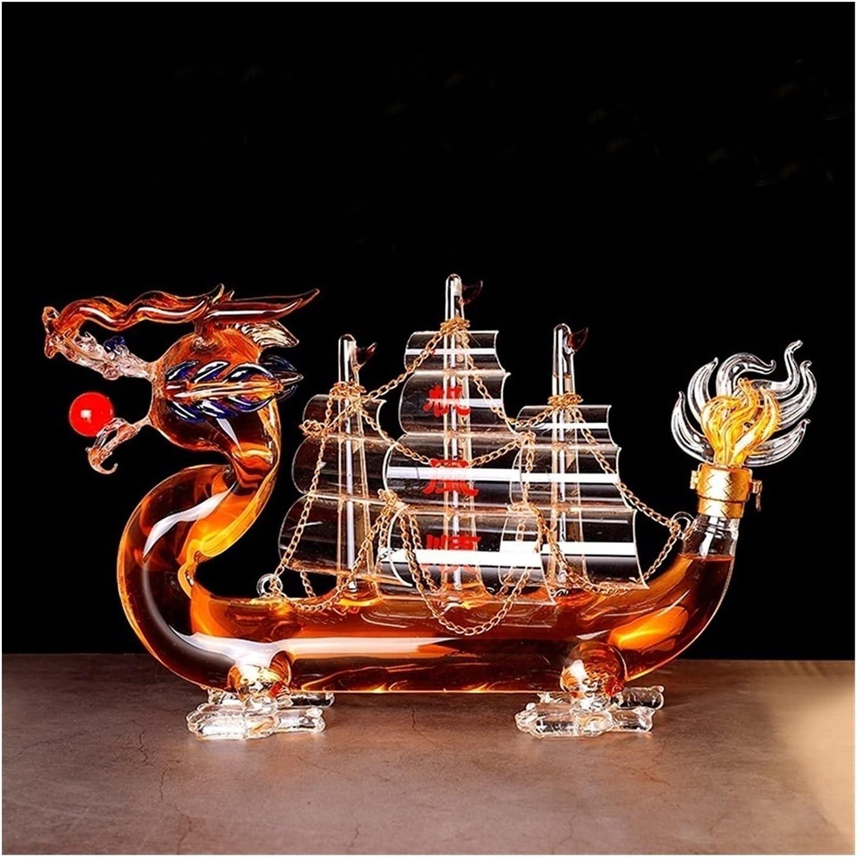 Decantadores de whisky portátil para el licor Scotch Bourbon, Adornos de cristalería Sin plomo Vidrio sin plomo 1000ml Decantador de vino decoración clásico chino dragón estilo diseño diseño reutiliza