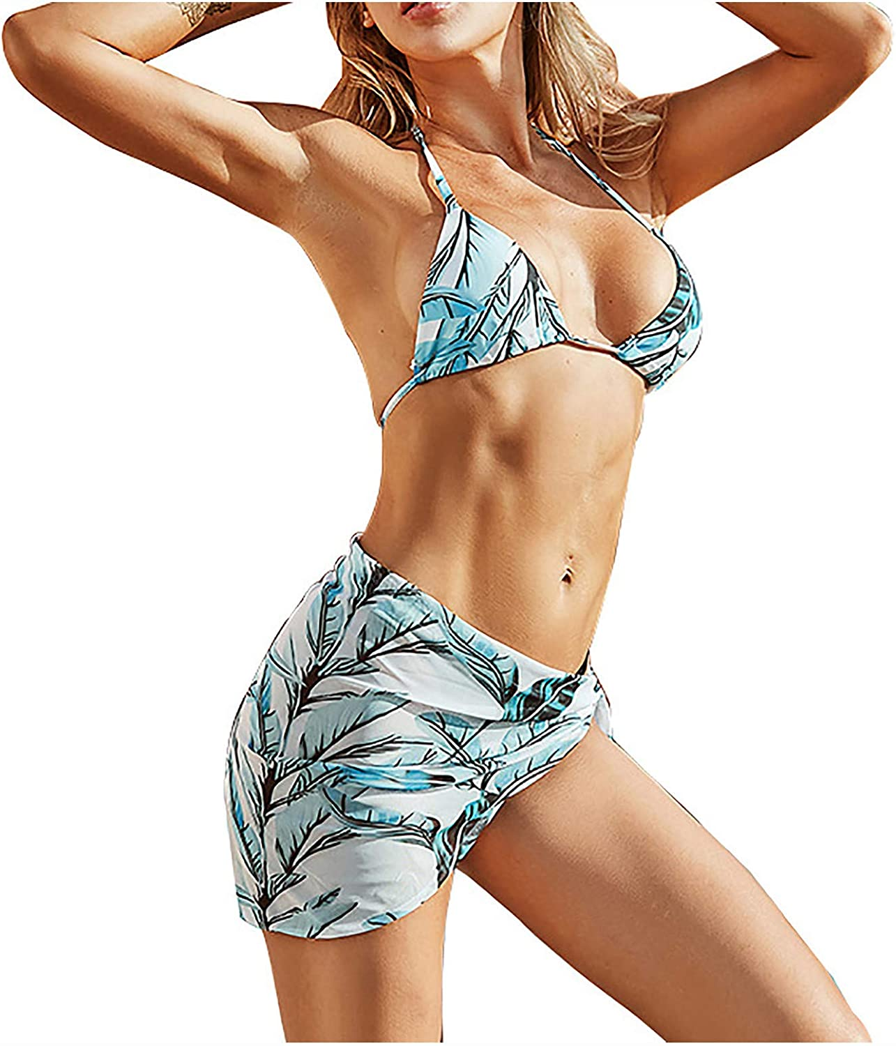 Fankle Women's 3 Piece Leaves Printed Boho Bikini Set Swimsuit and Cover Up Beach Skirt