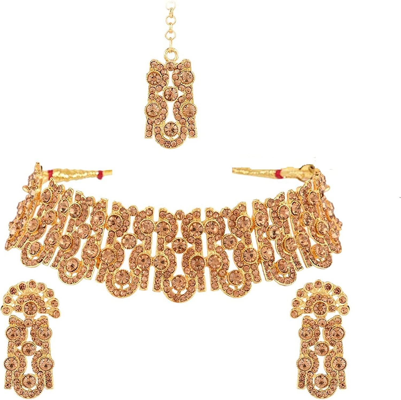 Efulgenz Crystal Rhinestone Choker Necklace Earrings Maang Tikka Head Chain Wedding Indian Jewelry Set for Women Girls