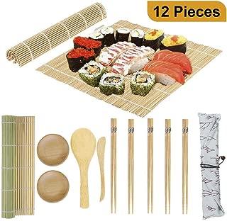 Sushi Making Kit Bamboo Sushi Mat, 2 Sushi Roller Mats, 1 Rice Paddle, 1 Rice Spreader, 5 Pairs Chopsticks, 2 Plates and 1 Canvas Chopstick Bag - DIY Sushi/California Rolls Maker Mats Utensils