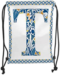 Trsdshorts Letter T Ornate Retro Portuguese Art Flowery Borders and Silhouette with Leaves Decorative Blue Yellow Orange Soft Satin 5 Liter Capacity Adjustable Str
