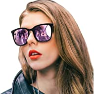 SIPHEW Womens Mirrored Sunglasses Polarized-Fashion Oversized Eyewear with UV400 Protection for...
