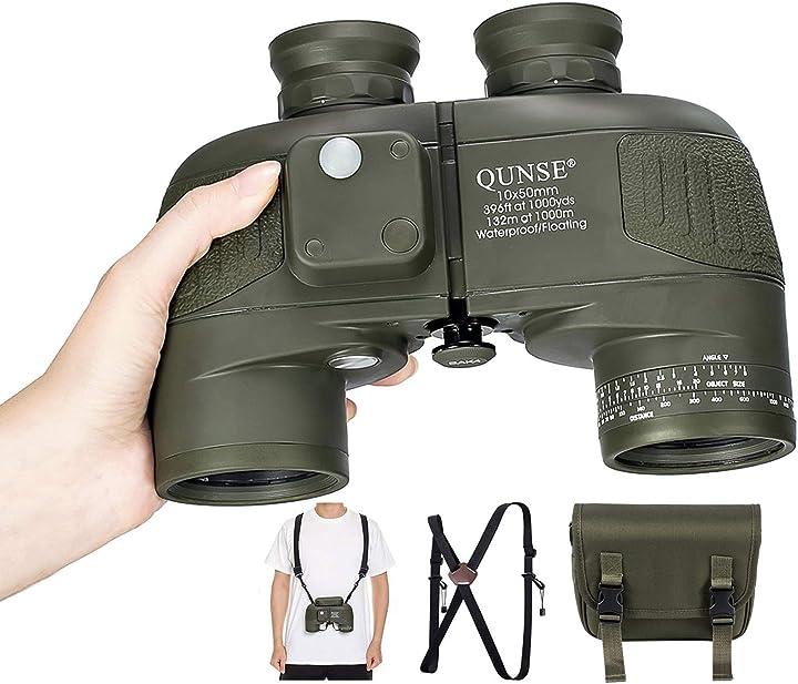 Binocolo 10 x 50 per adulti, con telemetro e bussola, adatto per caccia, bird watching e viaggi (verde scuro) QUNSE-X25