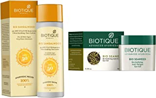 Biotique Bio Sandalwood 50+ SPF UVA/UVB Sunscreen Ultra Soothing Face Lotion, 120 ml And Biotique Bio Seaweed Revitalizing...