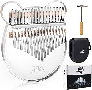 AKLOT Kalimba 17 Keys Transparent Acrylic Panda Thumb Piano Note Carved Starter Finger Piano with Kalimba Case Tune Hammer...