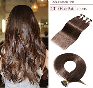 22 Inches I Tip Remy Human Hair Extensions 100 Strands/Pack Pre Bonded Keratin Stick Tipped Hair Extensions Cold Fusion Hair Piece Smooth Long Straight For Women #4 Medium Brown 50g