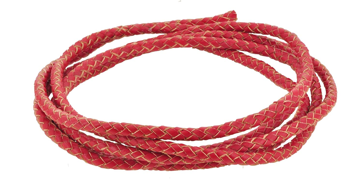 Mandala Crafts 6mm 2 Meters Braided Genuine Leather Western Bolo Ties Necklace Jewelry Making Craft Cord Rope (Red)
