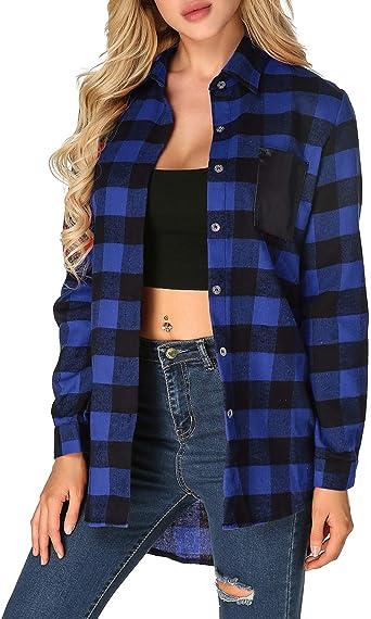 Zanzea - Camisa de mujer Sexy casuales con cuello en V de encaje estilo escocés a cuadros Camisa a cuadros parte superior suelta abrigo largo del ...