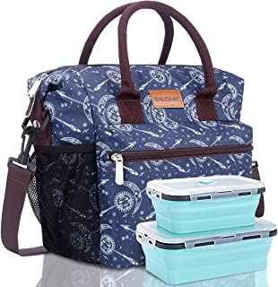 BALORAY Lunch Bag for Women Leakproof Insulated Lunch Bag Lunch Tote Bag with Shoulder Strap (Blue with Moon)