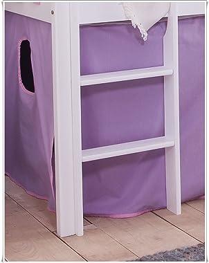 Unbekannt Tilo Cendrillon Lit mezzanine pour enfant avec toboggan en pin Blanc
