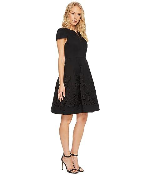 vestido con corta adornada falda negro manga muesca con de cuello Heritage Halston en de 8qxwB5A4I