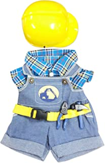 Construction Worker with Hard Hat Teddy Bear Clothes Fits Most 14