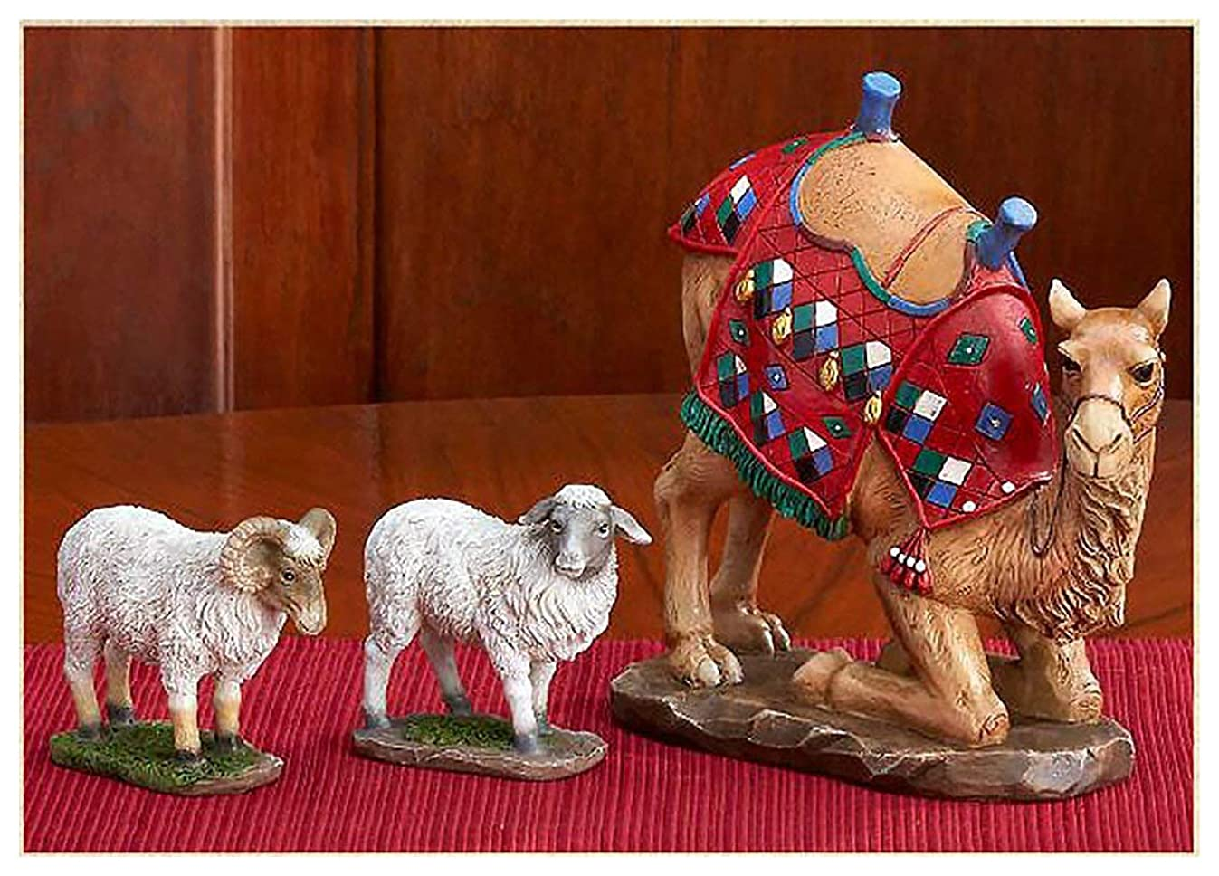 Kneeling Camel and Two Awassi Sheep Figurine Set of 3 for 14 inch Three Kings Nativity Set