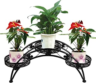 DAZONE Arch Plant Stand Metal Patio Stand Rack with 3 holder (Black)