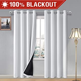DWCN 100% White Blackout Curtains – Thermal Insulated, Energy Saving & Noise Reducing Bedroom and Living Room Lined Curtains, W 52 x L 84 Inch, Set of 2 Grommet Curtain Panels