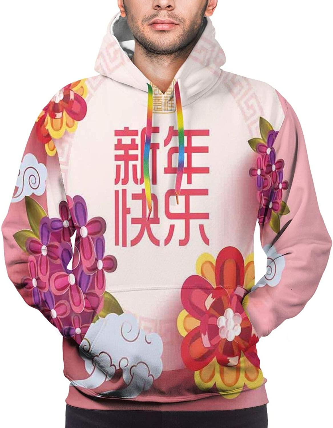 Men's Hoodies Sweatshirts,Pale Italian Style Curly Flowers in Squares Artistic Retro Composition