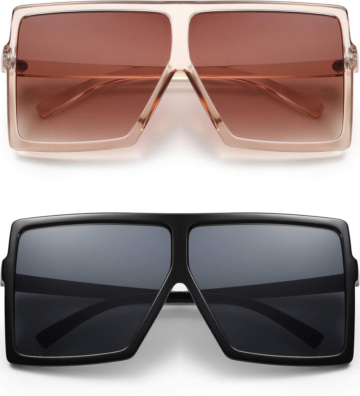 2 Import Pairs Square Oversized Sunglasses for Fashion Flat Women T Surprise price Man