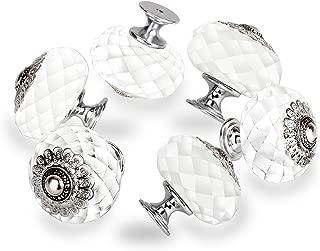 OTTFF Dia 1.7 inch Crystal Cabinet Knob Clear Dresser Knobs Cupboard Drawer Handle Pull