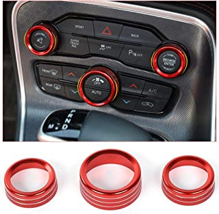 Best Voodonala Air Conditioner Switch CD Button Knob for Dodge Challenger Charger Chrysler 300 300s 2015-2019, for Ram 2013-2018 (Aluminum Alloy Red) Reviews