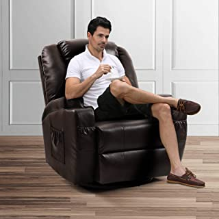 Vosson Massage Recliner Chair Heated PU Leather Massage Chair 360 Degree Swivel Recliners Chairs with 2Cup Holder, Pocket and Remote Control