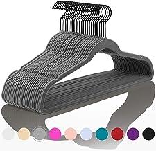 Premium Velvet Hangers (Pack of 50) Heavyduty - Non Slip - Velvet Suit Hangers Gray - Black Coated Hooks,Space Saving Clot...