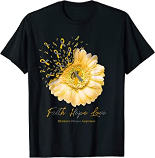 Faith Hope Love Meniere's Disease Awareness Flower Ribbon T-Shirt