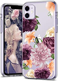 iPhone 11 Case 6.1 inch, Zenhole Floral Pattern Clear Design Transparent Hard Slim Case with TPU Bumper Protective Case Cover Compatible for iPhone 11 6.1 inch 2019 - Purple Rose
