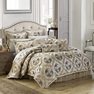 OS 9 Piece King Luxurious Beige Comforter Set, Bedding, Floral Jacquard Pattern, Polyester, Brown, Damask Flower Paisley Medallion Hippie Bohemian Kashmir Boho Chic Indie Sleek Fashion Classic