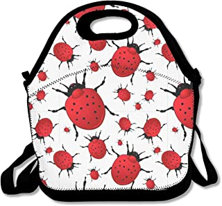 Three-Dimensional Seven-Star Ladybug Insulated Neoprene Lunch Bag Kids & Adults Zipper Lunch Tote Handbag with Adjustable Strap Lunchbox for School Office