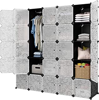LANGRIA 25-Cube Storage Organizer Large Black DIY Stackable Easy Assemble Plastic Steel Frame Decorative Modular Clutter-Free Closet Rack Yarn Stash Wardrobe for Homes, Living Rooms, and Gardens