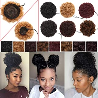 S-noilite Afro Bun Extension Puff Ponytail Chignon Hairpiece With Drawstring Afro Kinky Curly Wrap Messy Updo Synthetic For Black Women(6inch 2pcs,dark auburn)