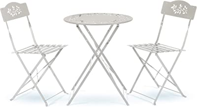 Alpine Corporation Indoor/Outdoor 3-Piece Bistro Set Folding Table and Chairs Patio Seating, White
